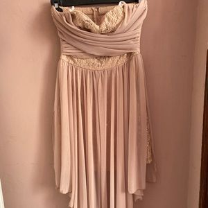 cute blush pink strapless dress